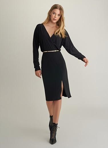 NGSTYLE Kruvaze Midi Örme Elbise Siyah